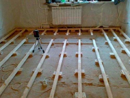 Как крепить лаги к бетонному полу. Монтаж лаг между деревянными бобышками